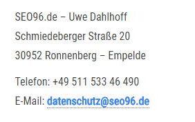 SEO96 Datenschutz