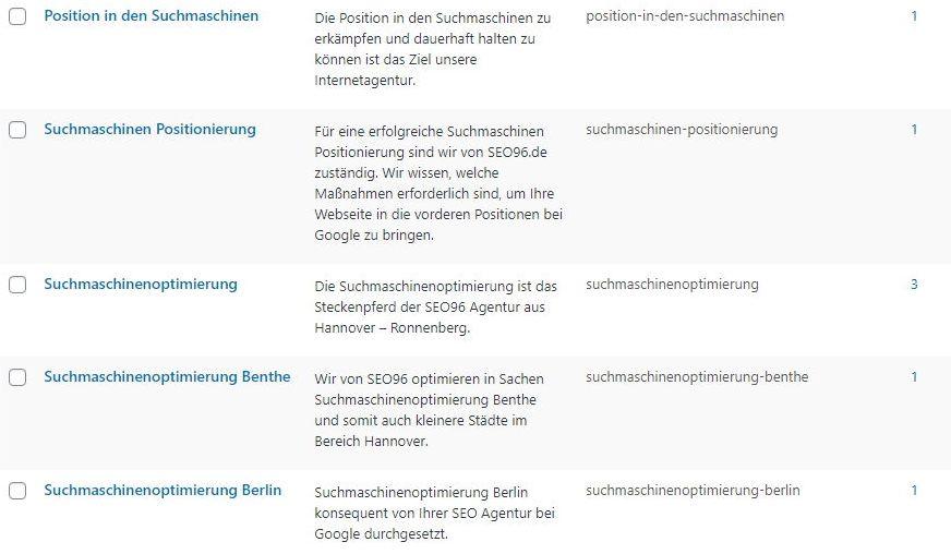 Verzeichnisoptimierung Hamburg