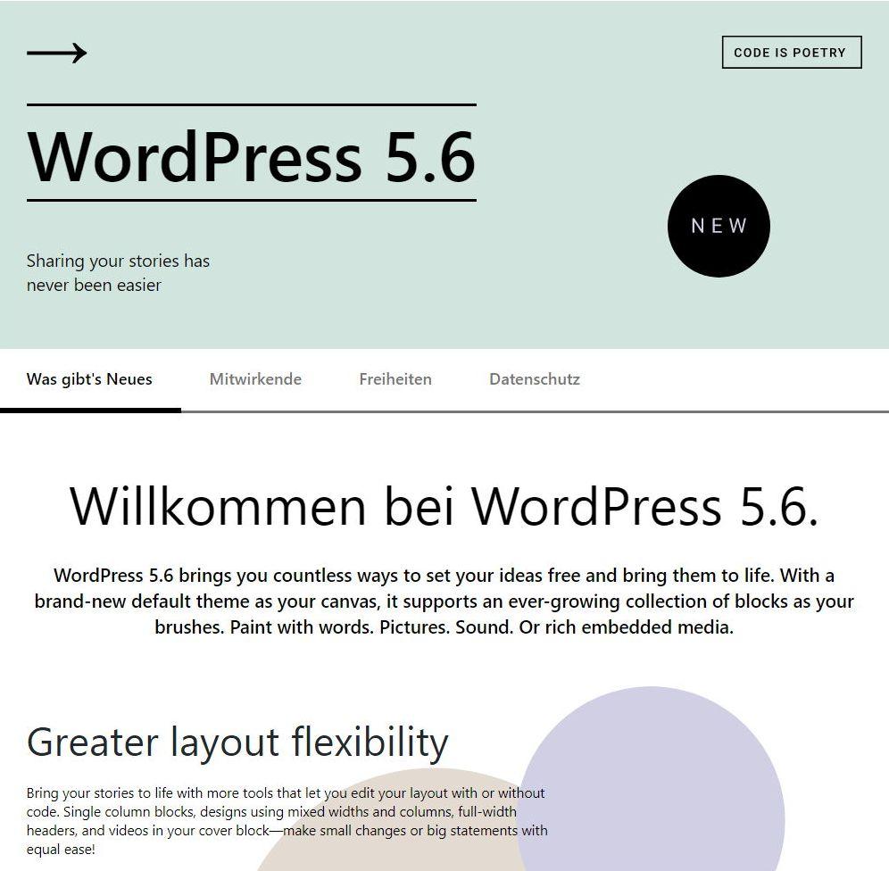 Wordpress 5.6 update